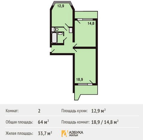 Продается 2-комн. кв-ра площадью 64 кв.м на 17 этаже 17 этажного дома в ЖК