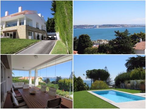 For rent Fantastic villa with stunning views of the Tagus River and the sea, in Caxias, 15 minutes from Lisbon and close to the A5 motorway, the Avenida Marginal and the Dafundo sports complex, between Lisbon and Cascais, with 6 bedrooms, 2 Lounge, d...