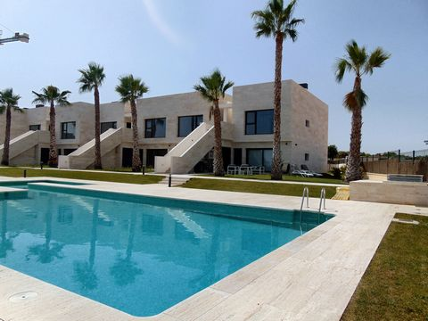 Beautiful 2 bedroom bungalow with communal pool and sea views on Lo Romero Golf, close to Pilar de la Horadada. These properties are available as either an upper or lower bungalow, each having 2 bedrooms and 2 bathrooms. The upper bungalows offer vie...