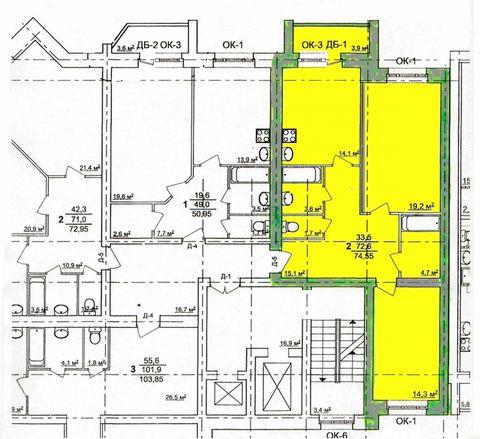 2-х комнатная квартира в строящемся кирпичном доме по ул. Красноармейская д. 37, с улучшенными планировками, на 10 этаже из 10 (дом переменной этажности). общая площадь 74,55 кв.м. жилая комната 33,2 кв.м. кухня 14,1 кв.м. Дом в центре города, переме...