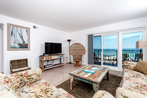 'Emerald Isle 610' on Okaloosa Island. Sixth Floor, Two bedroom, Two bath Condo that sleeps 6 with an open floor plan. Fully stocked kitchen with everything you need to cook a meal in. Dining area with seating for 4. Living area hosts a queen size sl...