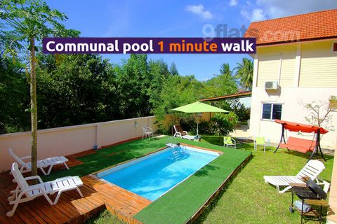 Beach is 7-12 minutes walk, ~ 700 m. The picturesque snow-white Bang Tao beach is uncrowded and has a gentle entrance to the sea, safe for children. 15 minutes drive to Patong with active club life! The house is 150 sq.m., equipped kitchen, microwave...