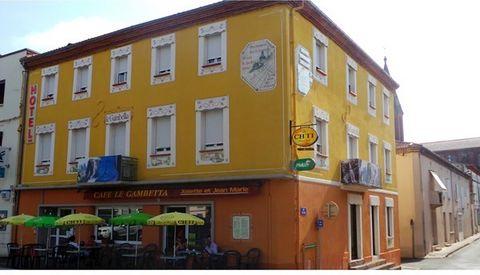 En plein centre ville de CARMAUX, bel Hôtel 3 étoiles + café, 13 chambres (37 couchages) toutes équipées avec 1 salle d'eau et wc séparés, wifi, climatisation réversible, télévision avec écran plat. Salle pour les petit-déjeuner.Le café comprend 70 p...