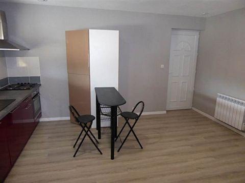Bel appartement comprenant: une entrée par le garage, à l'étage une grande mezzanine débarras, une cuisine aménagée et équipée (plaques, hotte, four, grand frigo), 1 chambre avec rangement, une salle d'eau avec wc. Chauffage électrique. Fenêtres PVC ...