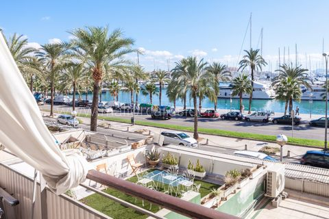 Renovated sea view apartment on Paseo Maritimo Sea view apartment with terrace in Palma This nicely renovated apartment is located accross from the Palma harbour and the sea front promenade of Paseo Maritimo. The property has a living area of 82 m2 i...
