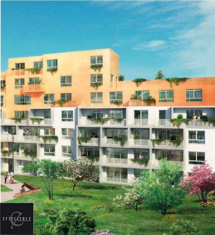 A vendre T2 pièces 1 chambre 45m2 et balcon, dans Programme neuf, nouveau centre-ville d'Evry 91000, éligible pinel.