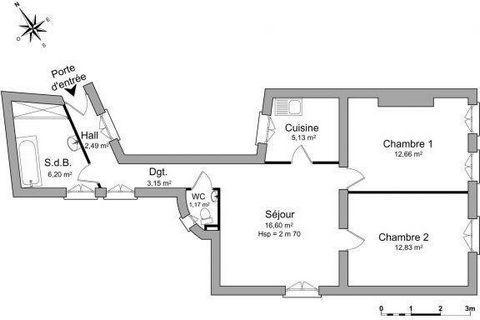 En deux pas de la tour Eiffel, Dans un quartier calme, Spacieux logement de Type 3 rénové avec parquet et moulures. Composé d' une entrée, un dégagement, une Cuisine, sdb,wc ,séjour ,2 chambres
