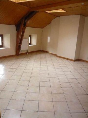 Appartement de type 3 comprenant une pièce de vie avec coin cuisine, deux chambres, une salle de bains et un wc. Chauffage individuel gaz