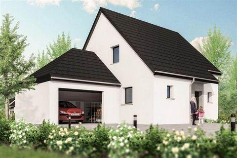 Projet de maison à construire à Ebersheim, près de Sélestat, dans le Bas-Rhin.Exemple de construction possible : maison moderne de 120m2 avec un garage intégré. Cette maison de 5 pièces se compose d'un étage et d'un rez-de-chaussée. Au rez-de-chaussé...