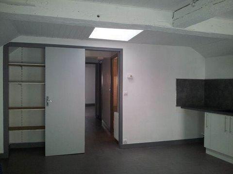 Un Appartement mansardé refait à neuf avec un séjour avec un coin cuisine aménagée, une salle d'eau, un wc indépendant, une chambre et un dressing.