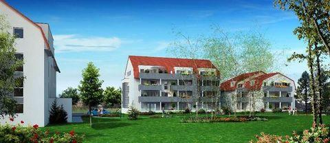 A WITTENHEIM, dans la résidence neuve BBC Les Aulnes, appartement T3 N°D22 d'environ 65 m² avec balcon d'environ 13 m² situé au 2ème étage du bâtiment D, comprenant: une entrée, un placard de rangement, un séjour avec coin cuisine, deux chambres, une...