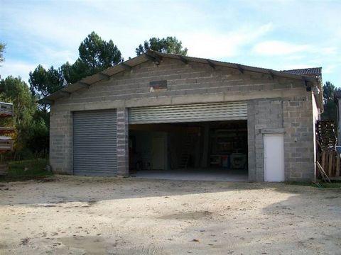 Hangar de 180 m2 avec la mezzanine. Bureau et WC (assainissement récent) Grande porte électrique Terrain de 780 m2.
